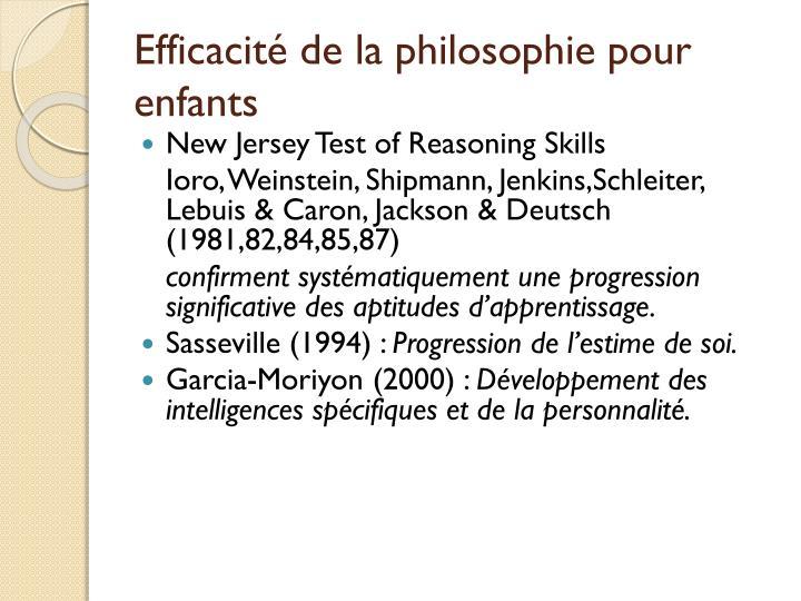 Efficacité de la philosophie pour enfants