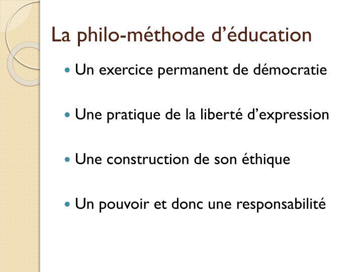 La philo-méthode d'éducation