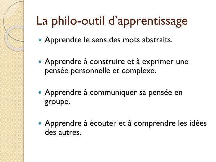 La philo-outil d'apprentissage