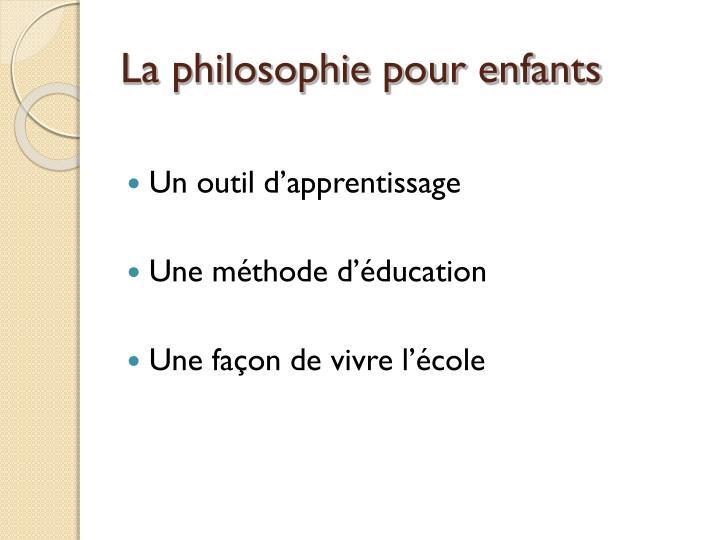 La philosophie pour enfants