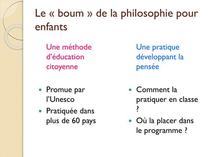 Le «boum» de la philosophie pour enfants
