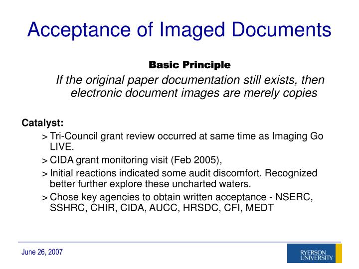 Acceptance of Imaged Documents