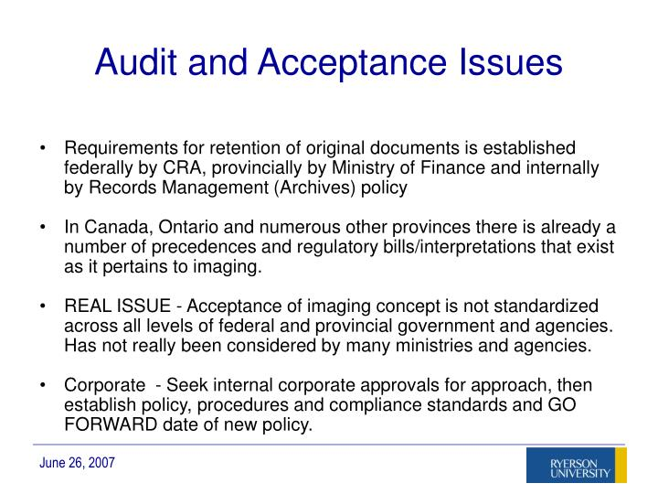 Audit and Acceptance Issues