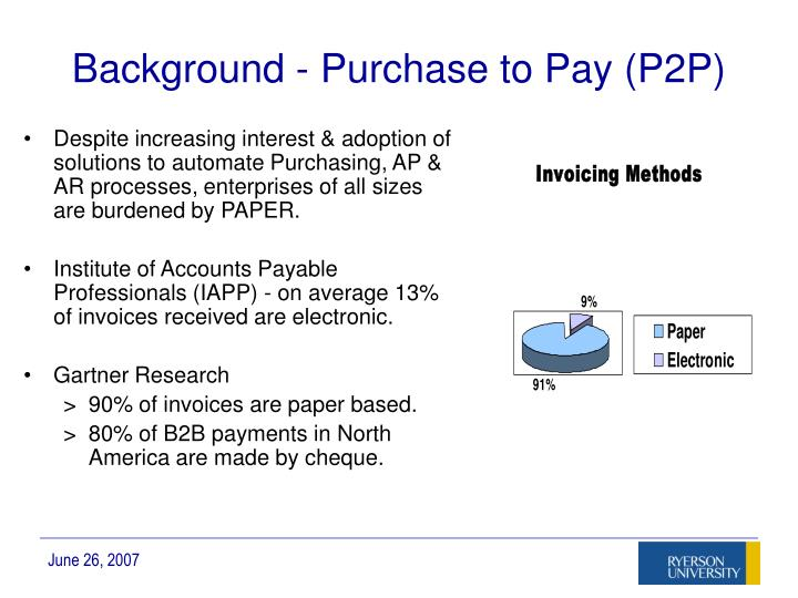 Background - Purchase to Pay (P2P)
