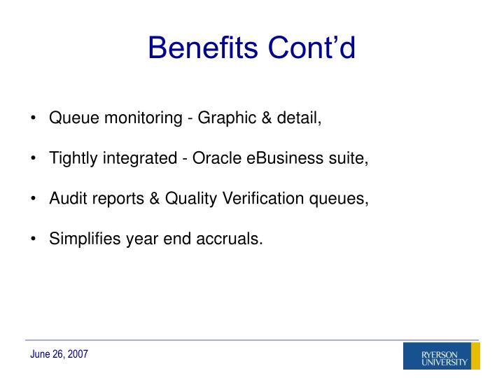 Benefits Cont'd