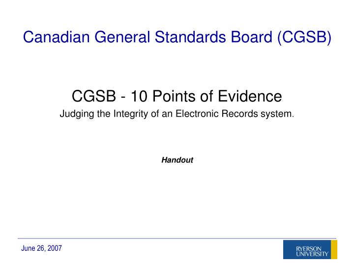Canadian General Standards Board (CGSB)