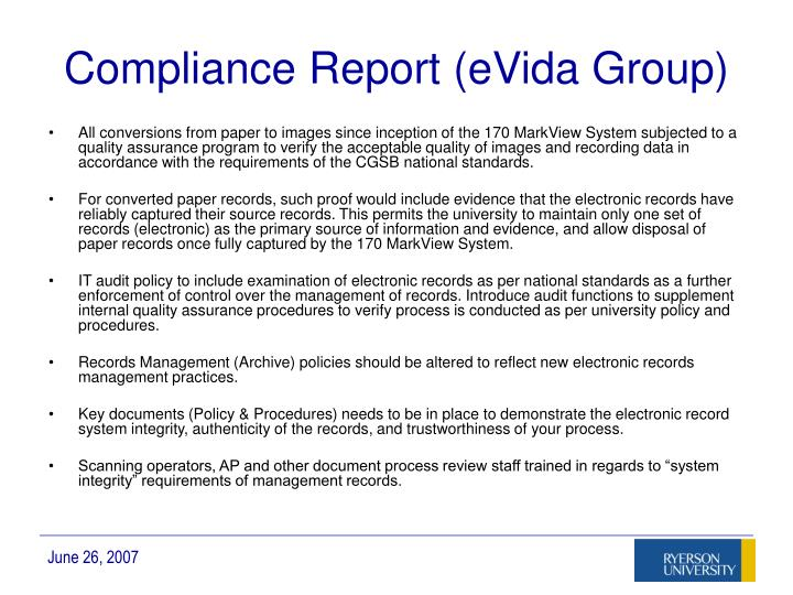 Compliance Report (eVida Group)