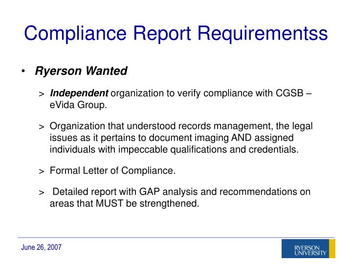 Compliance Report Requirementss