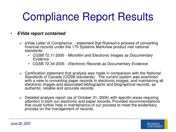 Compliance Report Results