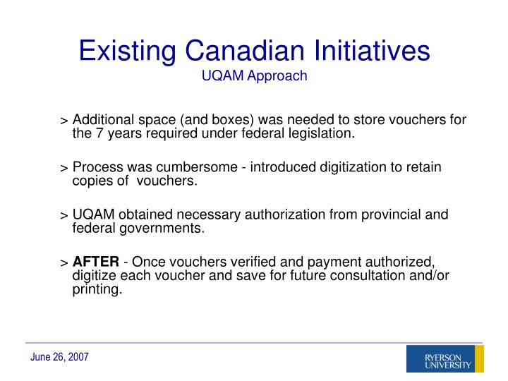 Existing Canadian Initiatives