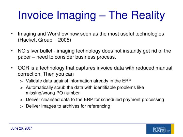 Invoice Imaging – The Reality