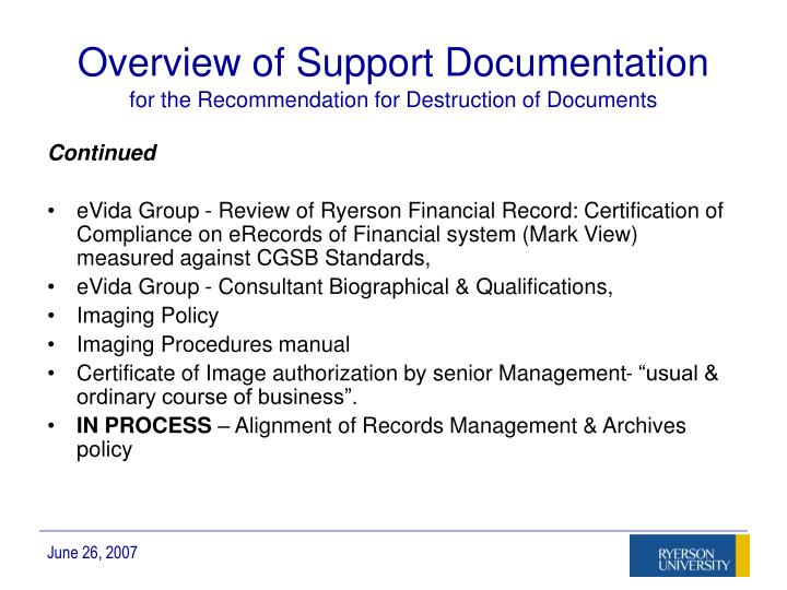 Overview of Support Documentation
