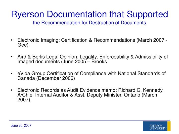 Ryerson Documentation that Supported