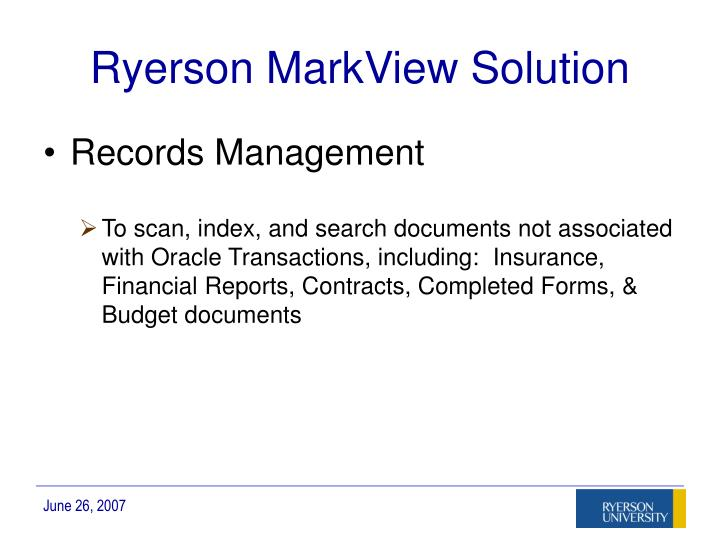 Ryerson MarkView Solution