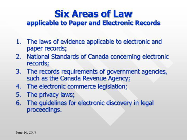 Six Areas of Law
