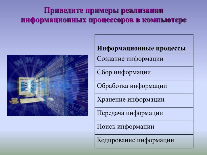 Приведите примеры реализации информационных процессоров в компьютере