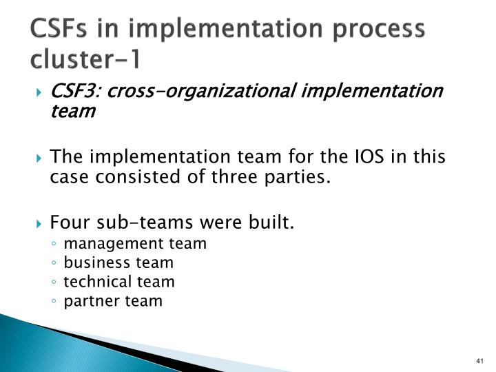 CSFs in implementation process cluster-1