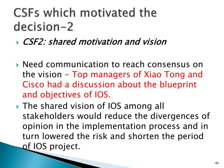 CSFs which motivated the decision-2