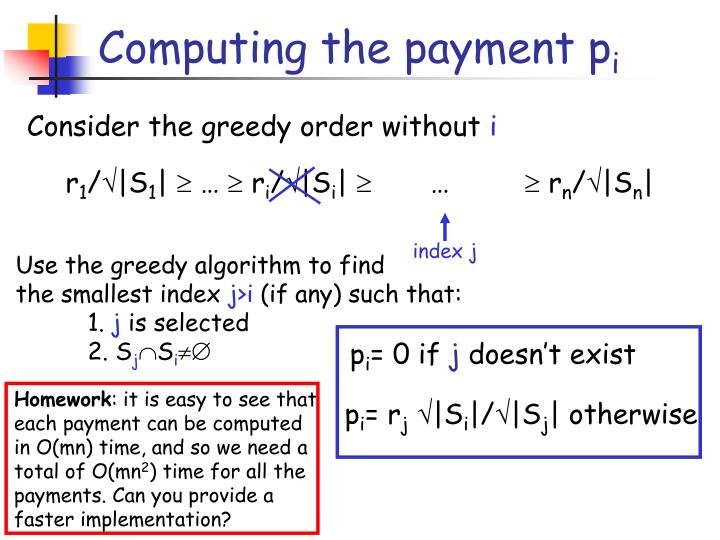 Computing the payment p