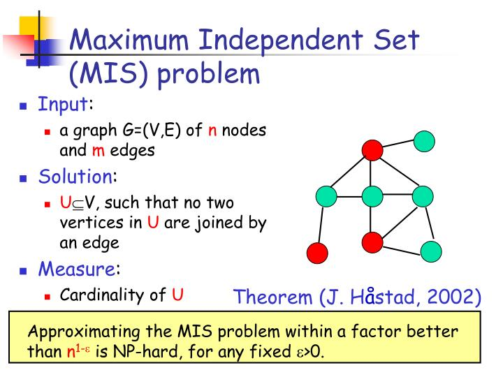 Maximum Independent Set (MIS) problem