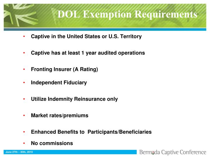 DOL Exemption Requirements