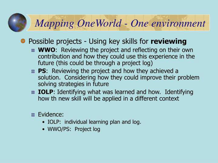 Mapping OneWorld - One environment