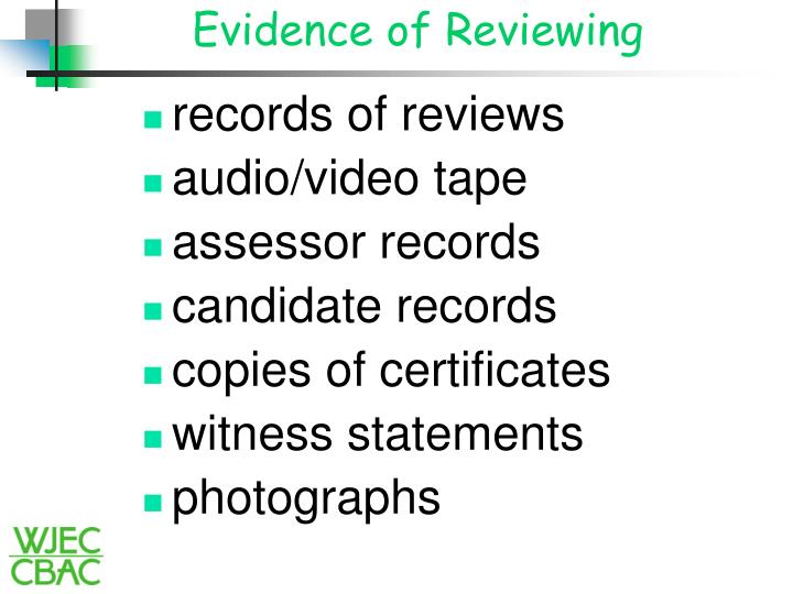 Evidence of Reviewing