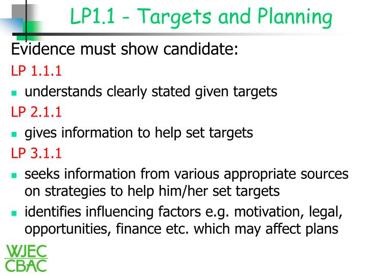 LP1.1 - Targets and Planning