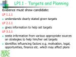 lp1 1 targets and planning