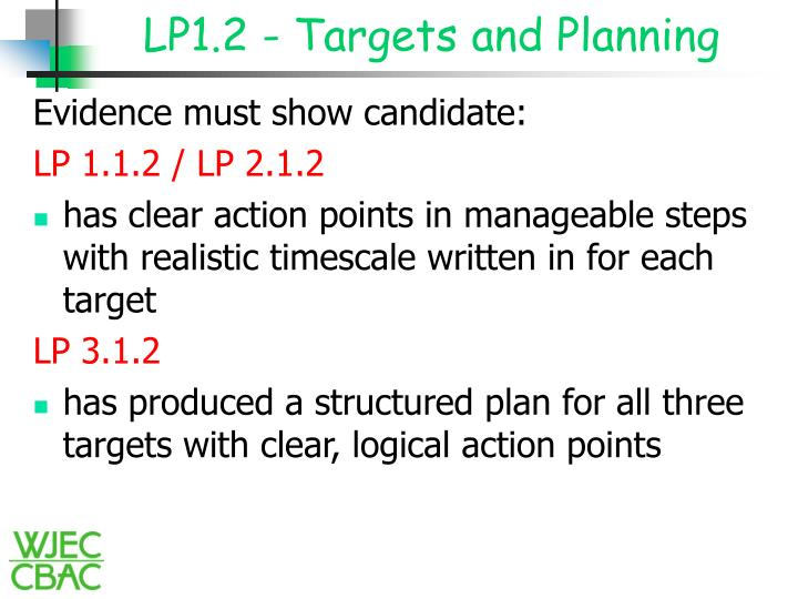 LP1.2 - Targets and Planning