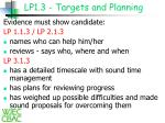 lp1 3 targets and planning