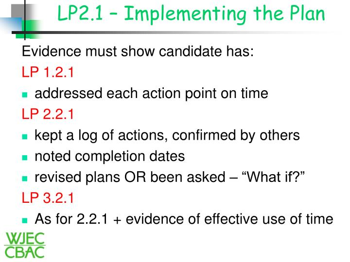 LP2.1 – Implementing the Plan