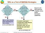 msl as a test of mepag strategies