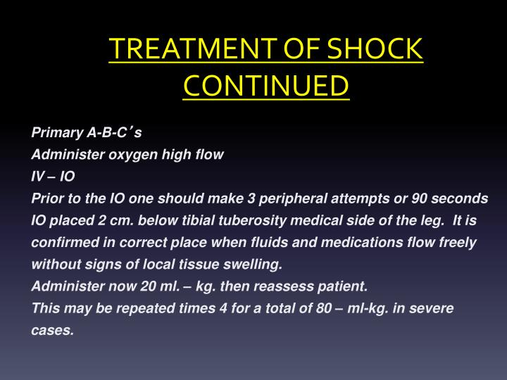 TREATMENT OF SHOCK CONTINUED