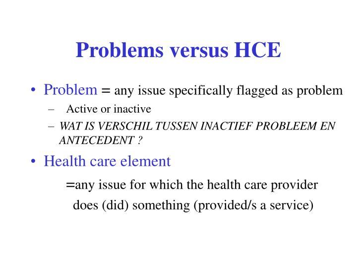 Problems versus HCE