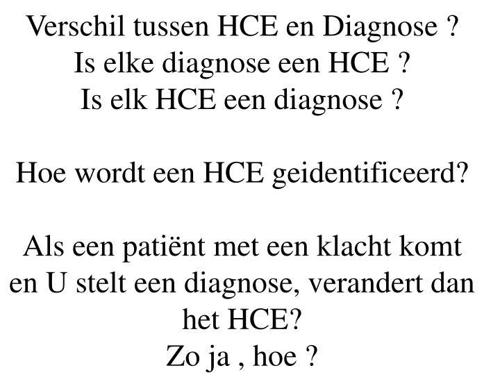 Verschil tussen HCE en Diagnose ?