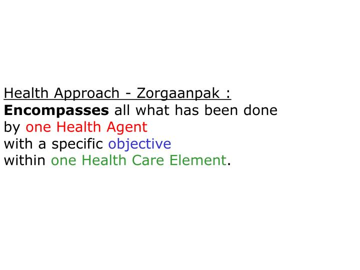 Health Approach - Zorgaanpak :