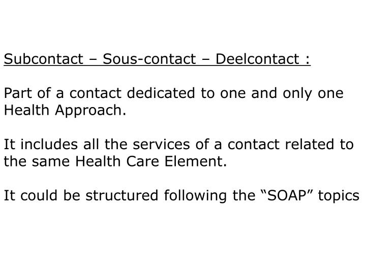 Subcontact – Sous-contact – Deelcontact :