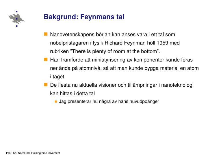 Bakgrund: Feynmans tal