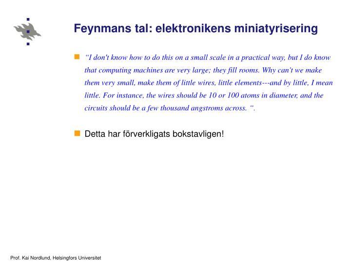 Feynmans tal: elektronikens miniatyrisering