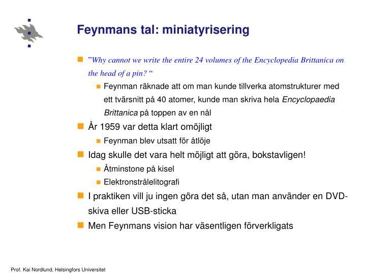 Feynmans tal: miniatyrisering