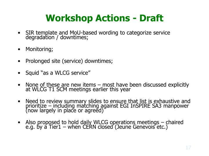 Workshop Actions - Draft