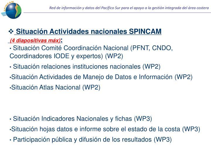 Situación Actividades nacionales SPINCAM
