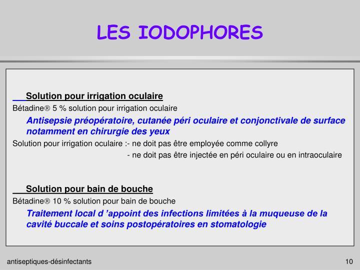 LES IODOPHORES