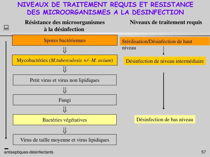 NIVEAUX DE TRAITEMENT REQUIS ET RESISTANCE