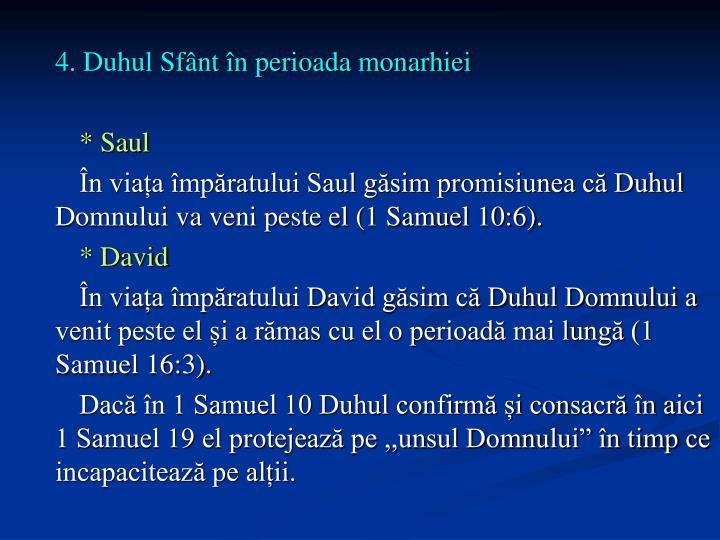 4. Duhul Sfânt în perioada monarhiei