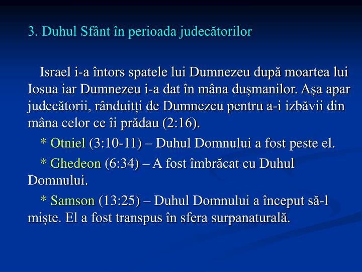 3. Duhul Sfânt în perioada judecătorilor