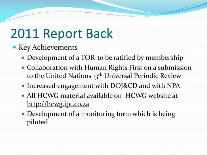 2011 Report Back
