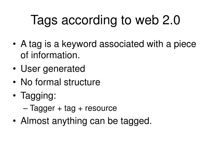 Tags according to web 2.0