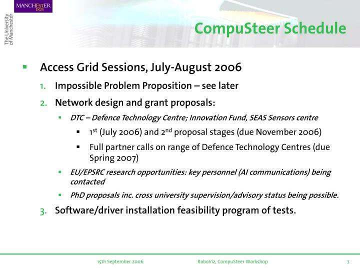 CompuSteer Schedule
